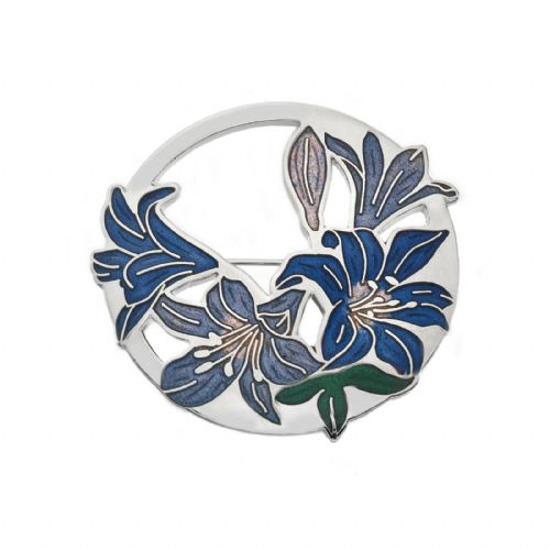 Large Blue Lilies Brooch Silver Plated Brand New Gift Packaging